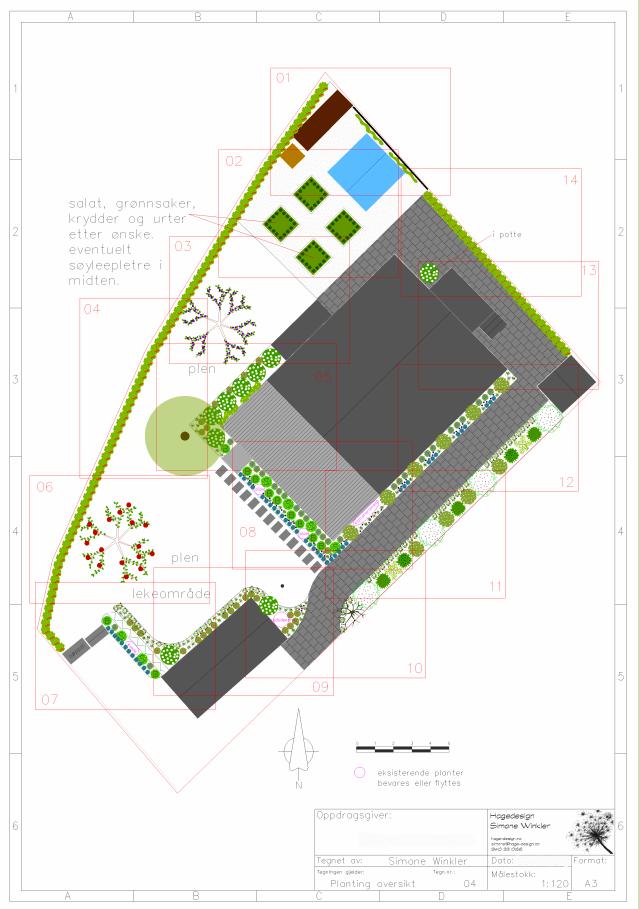 Eksempel for planteplan oversikt til hage i Jar
