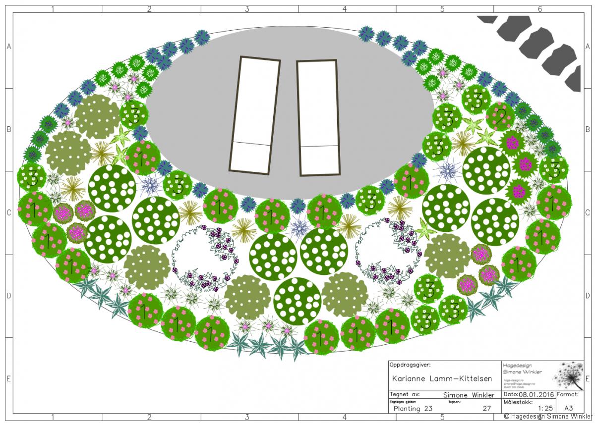 Detalj fra hageplan til kunde i Drammen
